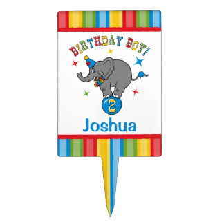 Circus Elephant 2nd Birthday Cake Toppers