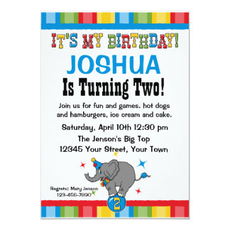 Circus Elephant 2nd Birthday Custom Invitations