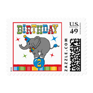 Circus Elephant 2nd Birthday Postage Stamps