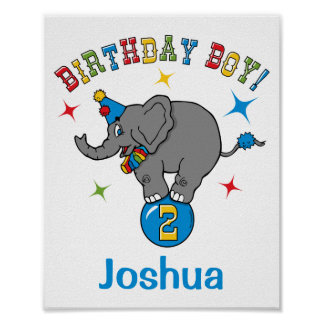 Circus Elephant 2nd Birthday Posters