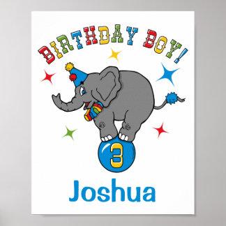 Circus Elephant 3rd Birthday Poster