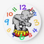 Circus Elephant Art Kids Room Wall Clock