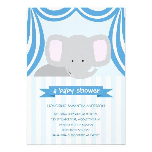 circus elephant baby shower inviation boy invite zazzle