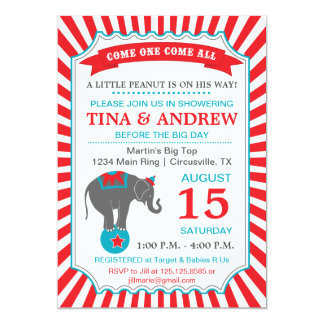 Circus Elephant Baby Shower Red & Teal 5x7 Paper Invitation Card