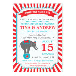 Circus Elephant Baby Shower Red & Teal Personalized Invitation