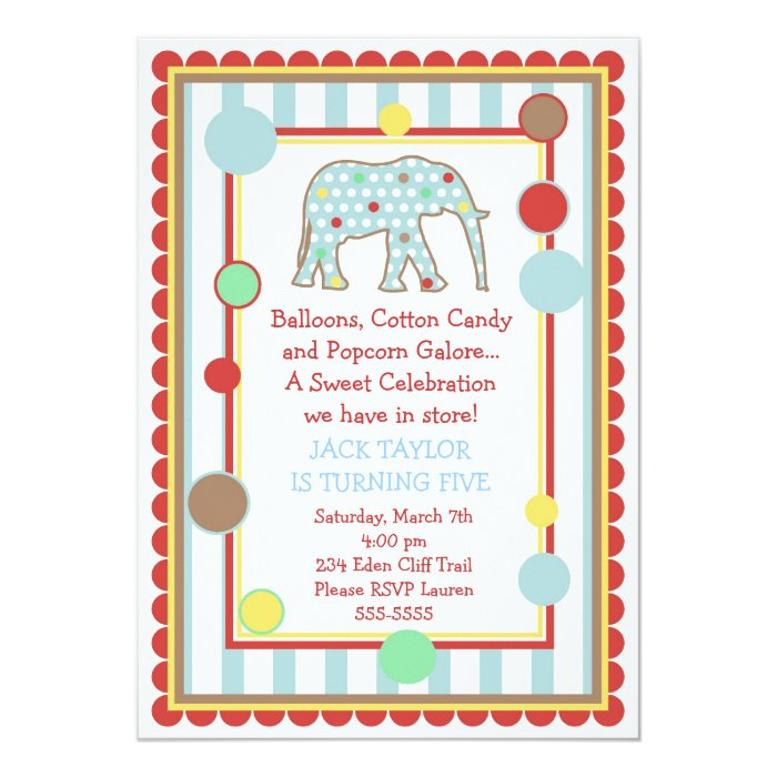 Circus Elephant Birthday Invitation
