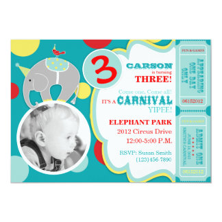 Circus Elephant Birthday Invitation Card A7