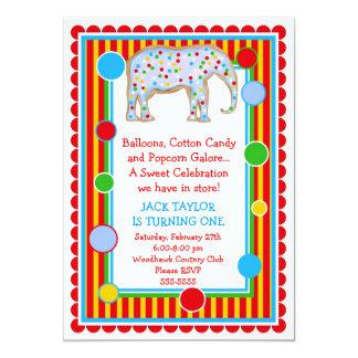 "Circus Elephant Birthday Invitation- Primary 5"" X 7"" Invitation Card"