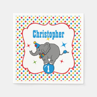 Circus Elephant Birthday Napkin