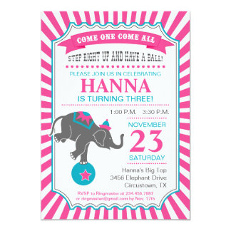 Circus Elephant Birthday Party 5x7 Paper Invitation Card
