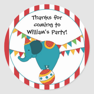 Circus Elephant Birthday Party Sticker