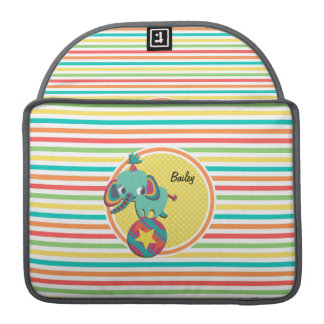 Circus Elephant; Bright Rainbow Stripes MacBook Pro Sleeves