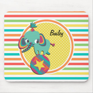 Circus Elephant; Bright Rainbow Stripes Mouse Pad