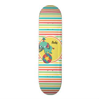 Circus Elephant; Bright Rainbow Stripes Skate Board Deck