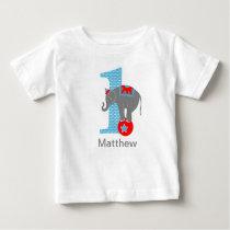 Circus Elephant First Birthday Tshirt Personalized