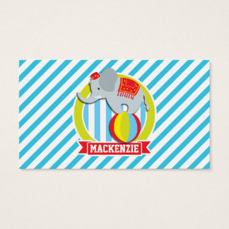 Circus Elephant on Ball; Baby Blue & White Stripes Business Card