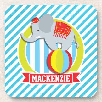 Circus Elephant on Ball; Baby Blue & White Stripes Coasters