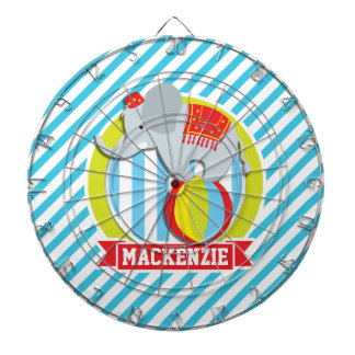 Circus Elephant on Ball; Baby Blue & White Stripes Dart Boards