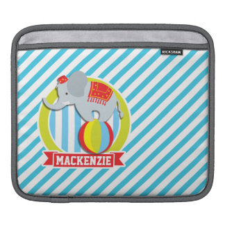 Circus Elephant on Ball; Baby Blue & White Stripes Sleeve For iPads