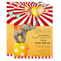 Circus Elephant on Ball Carnival Baby Shower Party Card