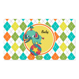 Circus Elephant on Colorful Argyle Pattern Double-Sided Standard Business Cards (Pack Of 100)