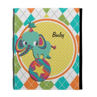 Circus Elephant on Colorful Argyle Pattern iPad Folio Cover