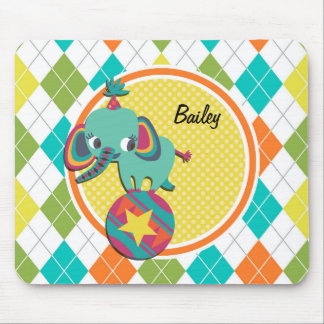 Circus Elephant on Colorful Argyle Pattern Mouse Pad