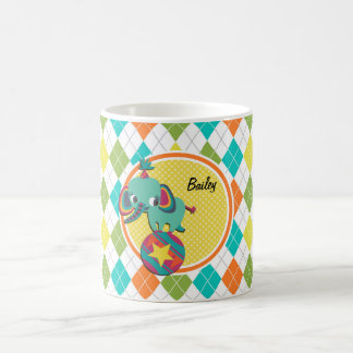 Circus Elephant on Colorful Argyle Pattern Coffee Mug