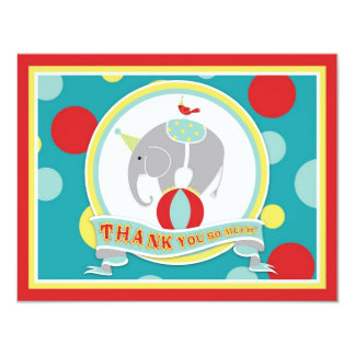 Circus Elephant Thank You Blue 4.25x5.5 Paper Invitation Card