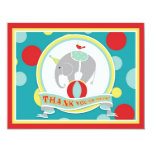 Circus Elephant Thank You Blue Personalized Announcements
