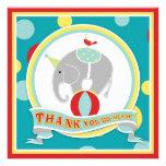 Circus Elephant Thank You Blue Invites