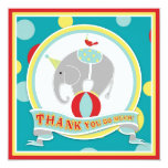 Circus Elephant Thank You Blue Invites