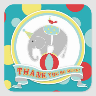 Circus Elephant Thank You Label Square Stickers