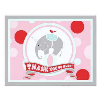 Circus Elephant Thank You Pink 4.25x5.5 Paper Invitation Card