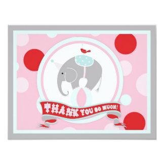 Circus Elephant Thank You Pink Card