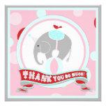 Circus Elephant Thank You Pink Invitation