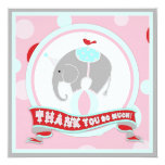 Circus Elephant Thank You Pink Invitation