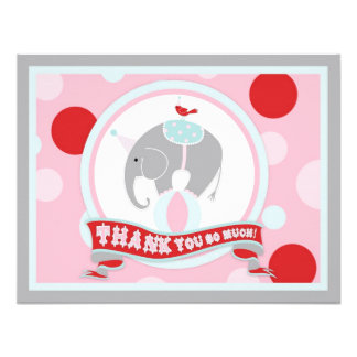 Circus Elephant Thank You Pink Personalized Invitations