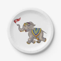 Circus Elephant With Flag Paper Plate