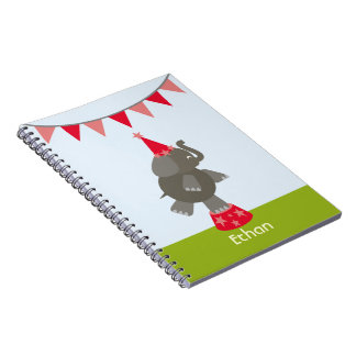 Circus Elephant With Red Hat Spiral Notebook