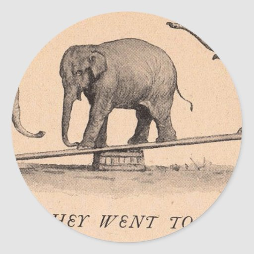 circus elephants round sticker