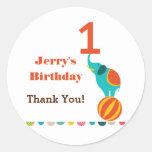 Circus First Birthday Favor Sticker