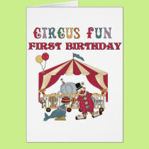 Circus First Birthday Tshirts and Gifts Card