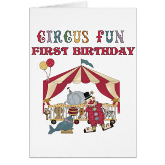Circus First Birthday Tshirts and Gifts Greeting Card