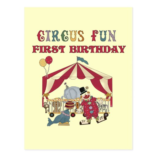 Circus First Birthday Tshirts and Gifts Postcard