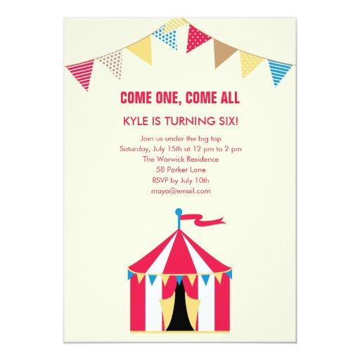 Circus Fun Birthday Party Invitation Custom Announcements