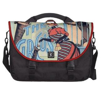 Circus Girl Vintage poster woman monkey Laptop Messenger Bag