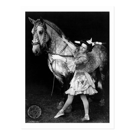 Circus Girl with Horse, 1908 Postcard