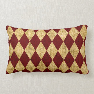 Circus Harlequin Pattern Rustic Red Throw Pillows
