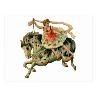 Circus Horse and Dancer Postcard